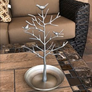 SILVER METAL JEWELRY TREE HOLDER